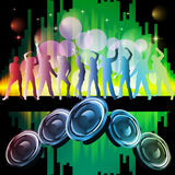 New years eve 2013. Illustration of dancing people silhouettes on an abstract party background Royalty Free Stock Images