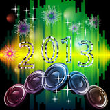 New years eve 2013. Illustration of numbers and speakers on an abstract background Stock Photos