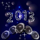 New years eve 2013. Illustration of numbers and speakers on an abstract background Royalty Free Stock Photography