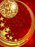 New years eve 2013. Illustration of a golden mirror ball on an abstract christmas background Royalty Free Stock Photos