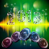 New years eve 2013. Illustration of numbers and speakers on an abstract background Royalty Free Stock Photo