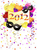 New years eve. Illustration of balloons, masks and numbers on a colorfulparty background stock illustration