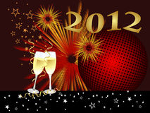 New years eve. Illustration of two glasses with sparkling wine on an abstract party background Stock Images