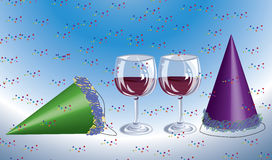 New years eve. Scene with wine glasses, hats, and confetti stock illustration