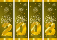 New Years Eve. Happy new Year. Fireworks over green background Royalty Free Stock Photos