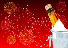 New years eve. Abstract vector illustration of a champagne bottle with fireworks in the background Stock Image