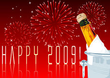 New years eve. Abstract vector illustration of a champagne bottle with fireworks in the background Stock Photo