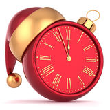 New Years Eve alarm clock bauble Christmas ball. Ornament decoration Santa hat icon red gold. Wintertime midnight countdown future beginning symbol souvenir. 3d Stock Photos