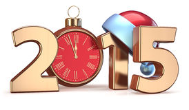 2015 New Years Eve alarm clock Christmas ball decoration Stock Photos
