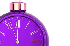 New Years Eve alarm clock face countdown bauble purple. Christmas ball time ornament decoration concept. Happy wintertime holidays midnight future beginning vector illustration