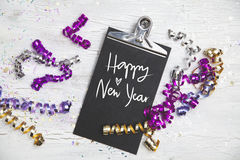 New Years Eve Background with black card Stock Images