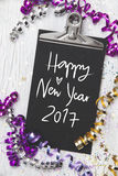 New Years Eve Background with black card Stock Photography