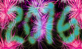 New years eve background - 2016 fireworks Stock Photo