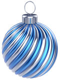 New Years Eve bauble Christmas ball decoration blue silver. Wintertime ornament icon traditional. Shiny Merry Xmas winter holidays symbol classic. 3d render vector illustration