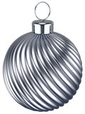 New Years Eve bauble Christmas ball silver chrome decoration. Wintertime ornament icon traditional. Shiny Merry Xmas winter holidays symbol. 3d render isolated vector illustration
