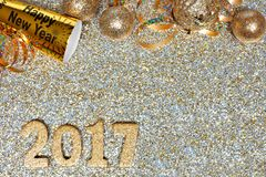 New Years Eve border with 2017 numbers on gold background Royalty Free Stock Photography