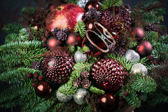 New years eve bouquet. With different Christmas tree toys, fruits, souvenirs and flowers Royalty Free Stock Photos