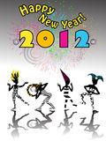 New years eve carnival. 2012 new years eve carnival happy silhouettes under clolorful fireworks stock illustration