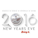 2016 New Years Eve. Celebrate dazzle dance sparkle shine 2016 New Years Eve with disco ball silver poster Royalty Free Stock Images