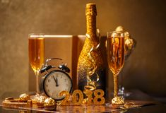 2018 New Years Eve. Celebrating 2018 New Years Eve with a glittering golden date Royalty Free Stock Image