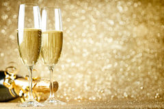 New Years Eve celebration. Background with champagne royalty free stock image