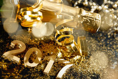 New Years Eve celebration. Background with champagne royalty free stock photography