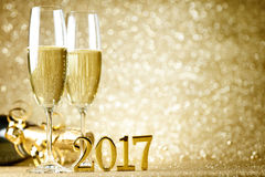 New Years Eve celebration. Background with champagne Stock Photos