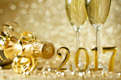 New Years Eve celebration. Background with champagne stock photo