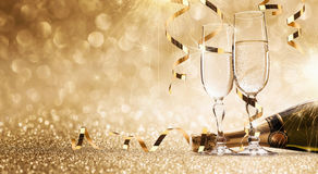 New years eve celebration background. With champagne Royalty Free Stock Photo