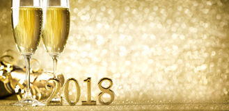 New years eve celebration 2018. New years eve celebration background with champagne Royalty Free Stock Photo