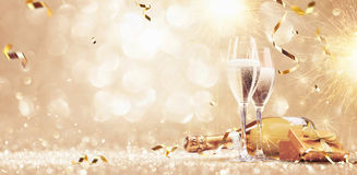 New years eve celebration background. With champagne stock photography