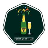 New years eve celebration. Color flat stickers. For happy new year and merry christmas. Glasses and bottles of champagne, confetti and fireworks, attributes of royalty free illustration