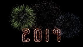 2019 New Years Eve celebration with fireworks. Three colored animated fireworks exploding in the background of 2019 text created with a firework pattern effect royalty free illustration