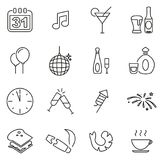 New Years Eve Celebration or Party Icons Thin Line Vector Illustration Set Stock Photography