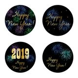New years eve 2019 circle graphics with fireworks royalty free illustration