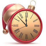 New Years Eve clock Santa hat Christmas ball decoration. Bauble ornament red golden. Traditional wintertime holidays midnight hour countdown beginning time royalty free illustration