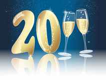New years eve concept for 2011. With champagne glasses on dark blue sky background stock illustration