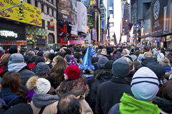 New Years Eve Crowd Times Square. A record braking crowd for the New Years Eve Celebration In Times Square royalty free stock photography