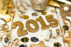 New Years Eve 2015 decor on wood Stock Images