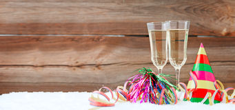 New years eve. Decoration with champaign glasses Royalty Free Stock Image
