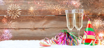 New years eve. Decoration with champaign glasses stock photo