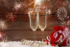 New years eve. Decoration with champaign glasses stock photos