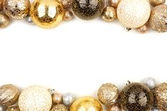 New Years Eve double border of gold, black and white ornaments over white royalty free stock image