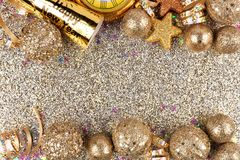 New Years Eve double border over a glittery background Stock Images