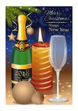 New Years Eve 2018. Festive New Years table with a burning candle and champagne. Vector illustration Royalty Free Stock Photo