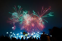 New years eve fireworks. Celebration with fireworks at the new years eve Royalty Free Stock Photos