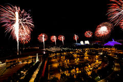 New Years Eve Fireworks. ORLANDO - DECEMBER 31: Magic Kingdom Fireworks on New Year Eve viewed from Disney`s Contemporary Resort, December 31st 2016 in Walt Royalty Free Stock Photography