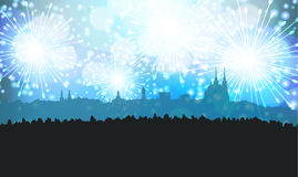 New Years Eve Fireworks over Silhouette of City of Brno. Black, White and Blue stock illustration