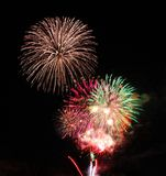 New Years Eve fireworks over Vale, Oregon stock image