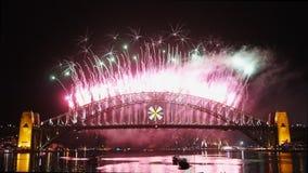 New Years Eve fireworks on Sydney Harbor Bridge 08 stock video footage